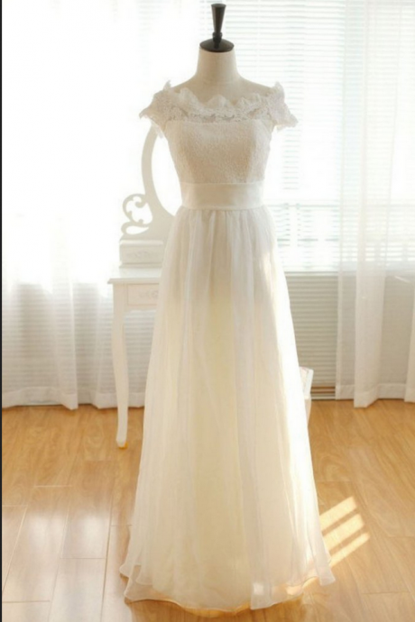 Pretty Elegant Long Chiffon Ivory Lace Wedding Dresses