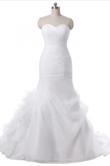 Sweetheart Neck Organza Mermaid Wedding Dresses Ruffles Pleats Sweep Train Bridal Wedding Gowns