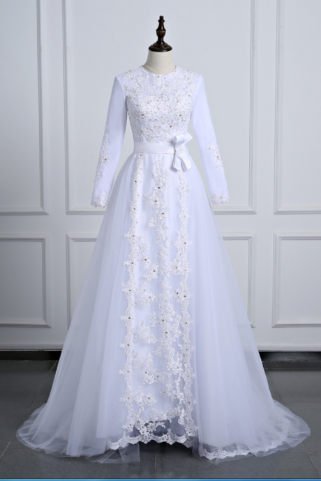 Long Sleeve Wedding Dresses Tulle Floor Length Bridal Dresses with Lace Appliques Muslim Wedding Dresses with Sash Real Photo