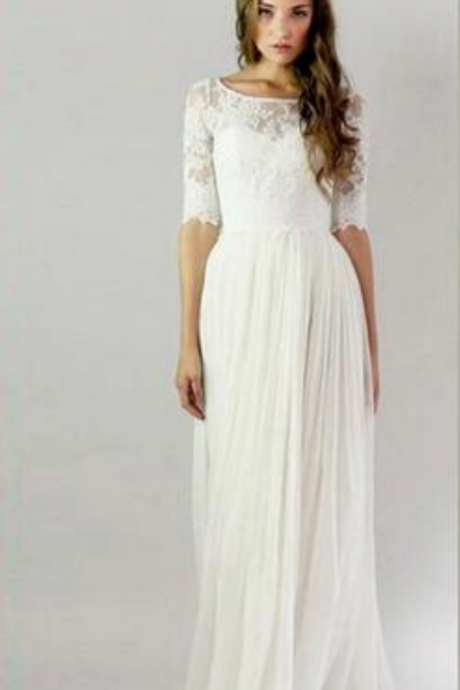 Vintage Half Sleeves Lace Chiffon Wedding Dresses Appliques Wedding Gowns Bridal Dresses