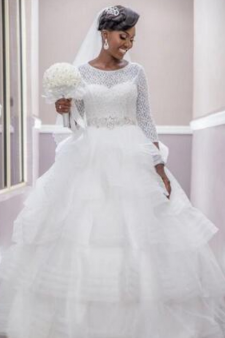 White Nigerians Puffy Wedding Dresses Jewel Lace With 3/4 Long Sleeves Sequin Beading Tulle Tiered Skirts Plus Size Bridal Gowns