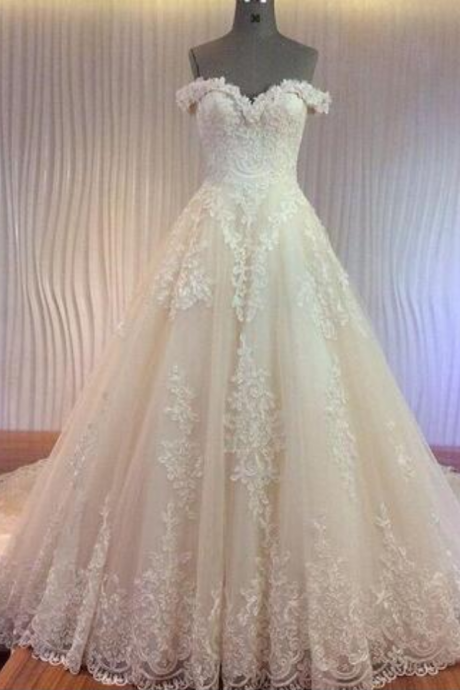 vestidos de novia Wedding Dresses with Luxury Corded Lace Appliques