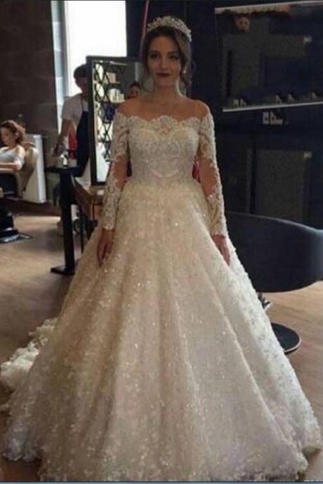 A-line Wedding Dresses Off the Shoulder Long Sleeves Lace Appliques Beaded Pearls Bridal Gown