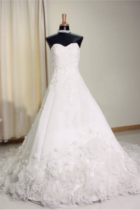 Sweetheart A-line Tulle Wedding Dresses Lace appliques Women Bridal Gowns