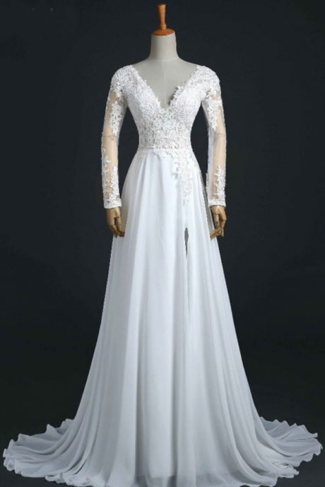 V-neck Long Sleeve A-line Wedding Dress with Lace Appliqués