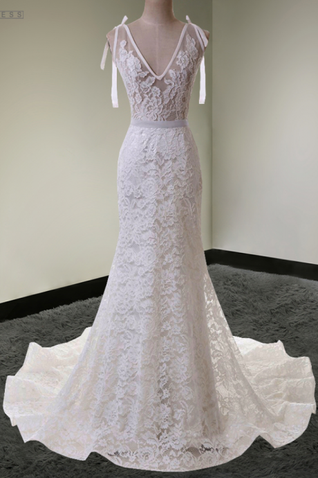 V-Neck Sleeveless Sheer Lace Mermaid Long Wedding Dress, Bridal Gown