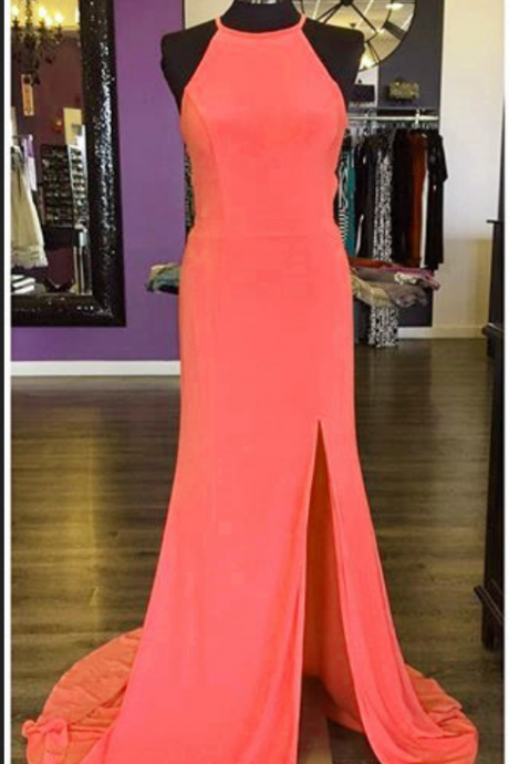 New Arrival Prom Dress,Modest Prom Dress,long jersey coral pink mermaid prom dresses with slit sexy