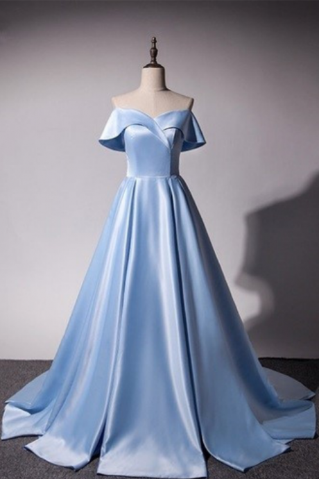 Ice Blue Satin Princess Gowns, Light Blue Prom Dresses , Gorgeous Off Shoulder Party Dresses