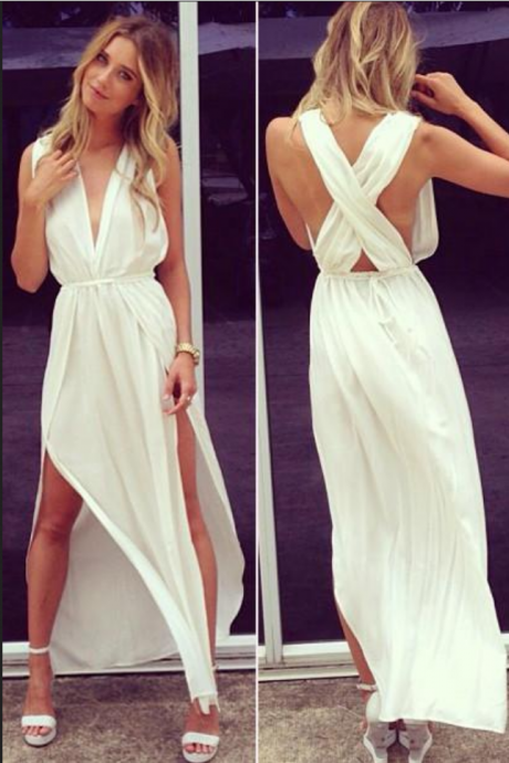 White Prom Dresses,Deep V Neck Sleeveless Chiffon Prom Gowns,Side Slit Ankle Length Evening Gowns,