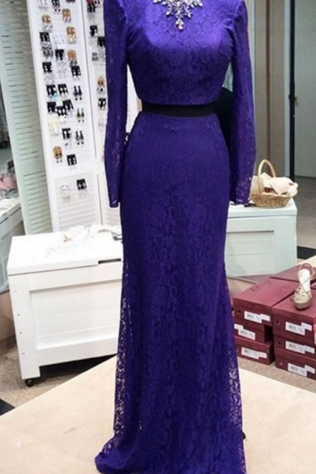 Long Sleeve Prom Dress,Lace Prom Dress,Two Pieces Prom Dress,Fashion Prom Dress,Sexy Party Dress, New Style Evening Dress