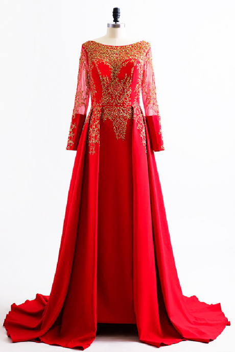 New Arab robe long-sleeved red dress evening dress sexy dress coat of gold pearl long formal dresses in the open air