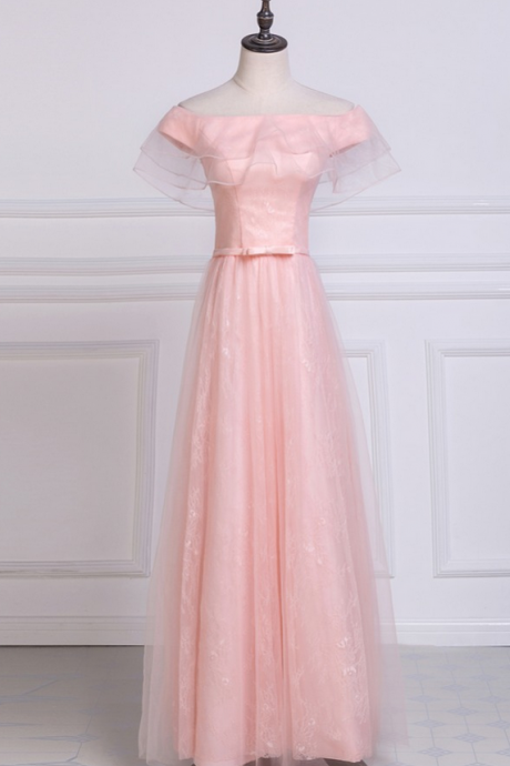 Shoulder lace chiffon long bridge is not expensive formal party dress