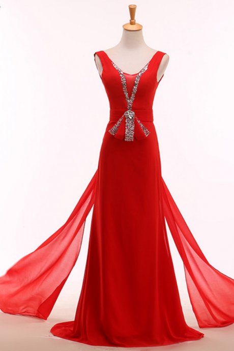 Delicate red crystal intermittently evening dress wedding night long silk dress formally festival dress beautiful skirts