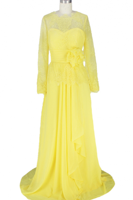 The yellow lace evening dress, was the neck cuff silk layer formal party dress