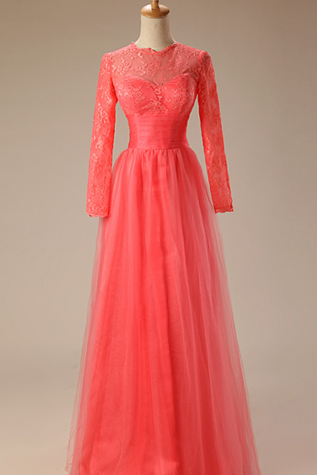 A - ligne rose party dress length long sleeve layer Appliques lace evening dress