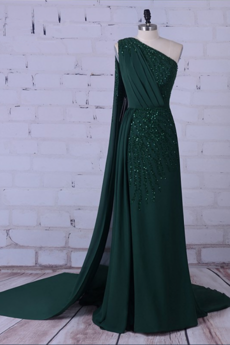 Green party long formal dress silk gem outdoor dress PROM dress the bride's party