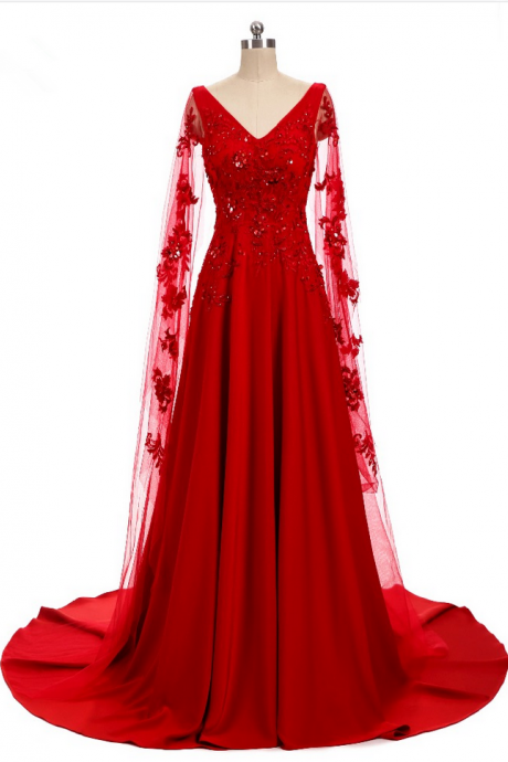 New design Appliques dress party dress coat red skirt part of the actual holiday party dress
