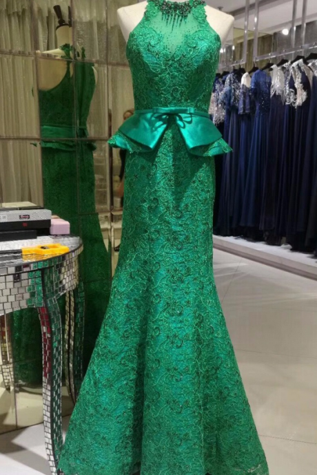 New way of green lace mermaid Halter neck Appliques luxury evening dress for the party dress