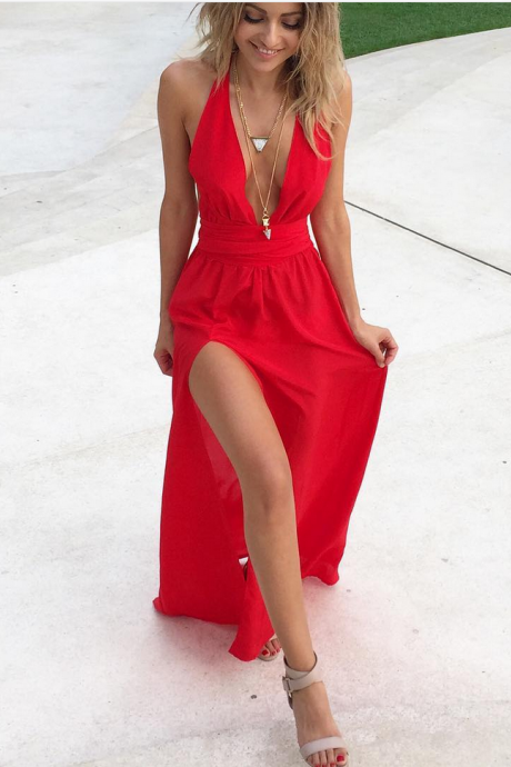 Cheap prom dresses ,Deep V neck Red Chiffon Prom Dresses with Thigh High Slit