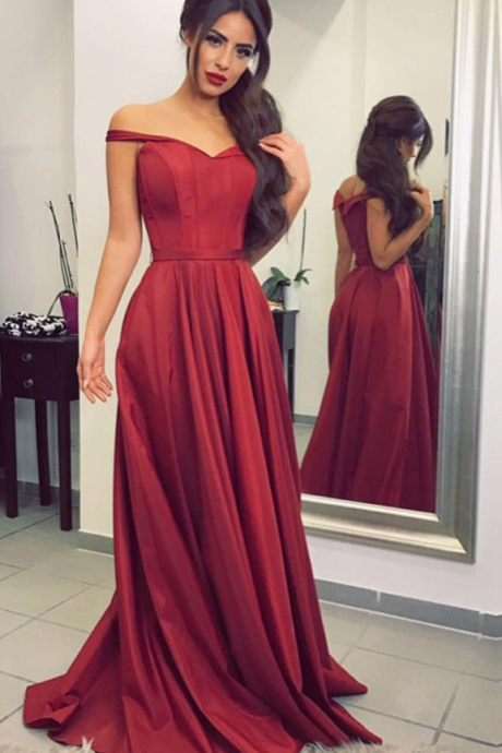 Cheap prom dresses ,burgundy bridesmaid dress,satin prom dress,off the shoulder evening gowns,sexy long formal dress