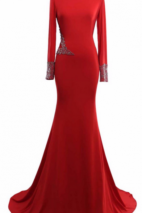 Real photo red dress simple O O satin Appliques neck long sleeve new party party dress