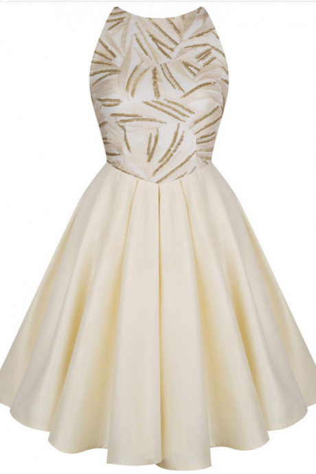 Embroidery folds as short dress formally stripped to the waist champagne homecoming dress