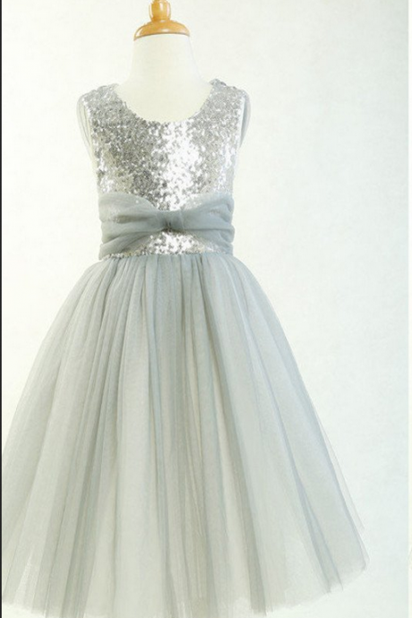 Round Neck Silver Sequin Tulle Pretty Little Girl Dresses For Wedding Party, Flower Girl Dresses,