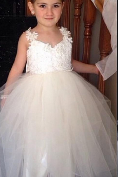 Cute tulle v neck open back ankle length sweet cheap flower girl dress with bowknot