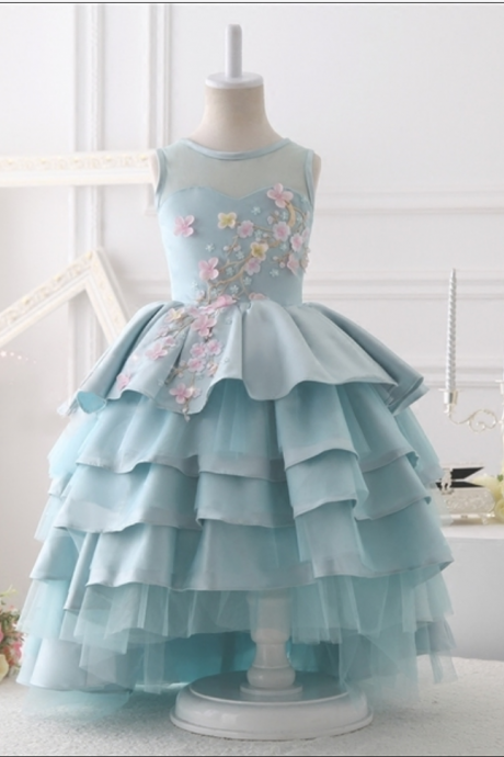 Baby blue flower girl gown, blue flower girl gown, junior bridesmaid gown, blue tiered layered flower girl gown, little girl birthday gown, baby girl birthday dress, princess gown, free shipping children dress