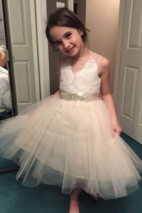 A-Line Kids Dresses,/Princess Girls Party Dresses,Short Flower Girl Dress,Tulle Flower Girl Dress,Lace Flower Girl Dresses,Sleeveless Flower Girl Dress With Rhinestone