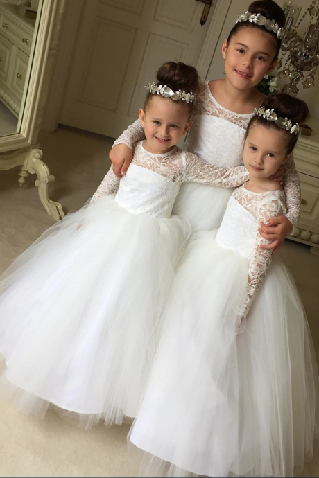 Flower Girl Dress, Ivory Long Sleeves Puffy Tulle Lace Flower Girl Dresses Girls Formal Party Gowns
