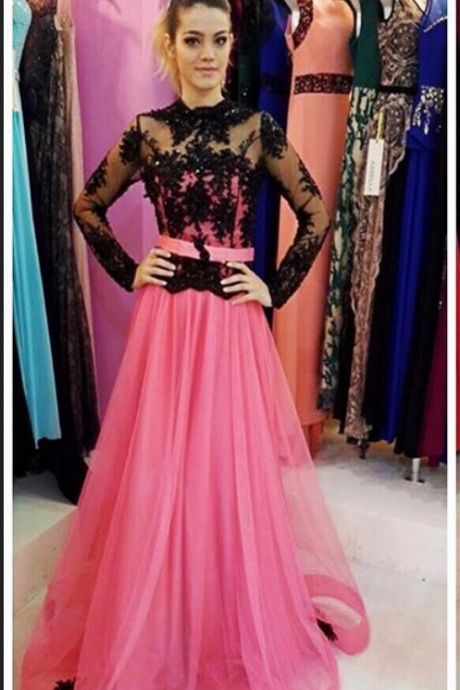 Charming Prom Dress,Fulll Sleeve Long Prom Dresses,Formal Evening Dress,Women Dress