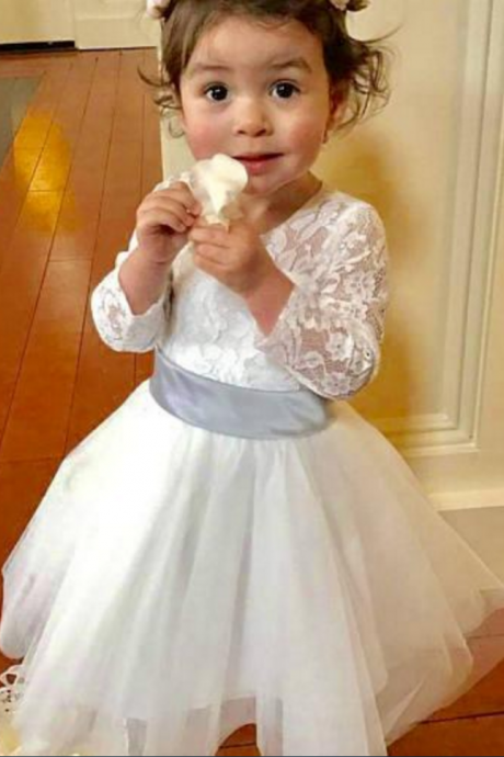 Flower Girl Dress,Light Ivory Flower Girl DressES,Lace Flower Girl Dress,Tulle Flower Girl Dresses,Flower Girl Dress With Silver Sash,Flower Girl Dress