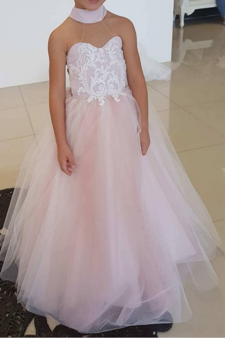 Flower Girl Dress,High Neck Flower Girl Dresses, Long Flower Girl Dresses,Lace Flower Girl Dresses,Appliques Sheer Back Flower Girl Dress,Princess Dress for Girls, Teenagers Kids Party Gowns