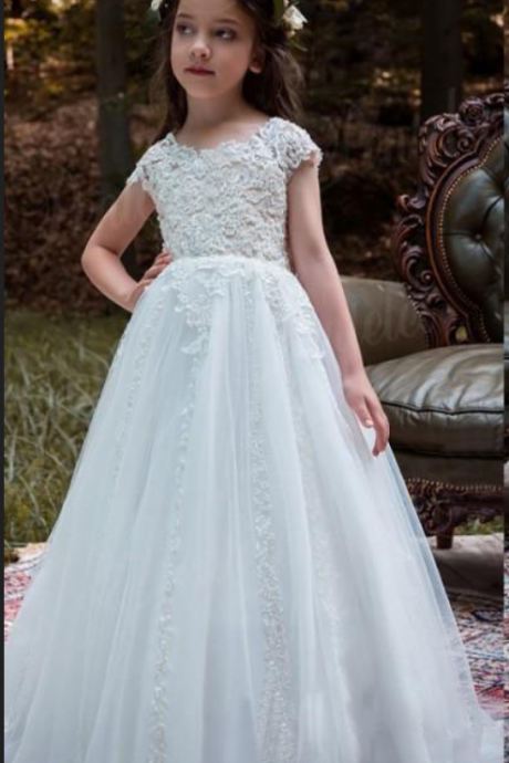 Charming Girl Lace Tulle Princess Bridesmaid Flower Girl Dresses Wedding Party Dresses
