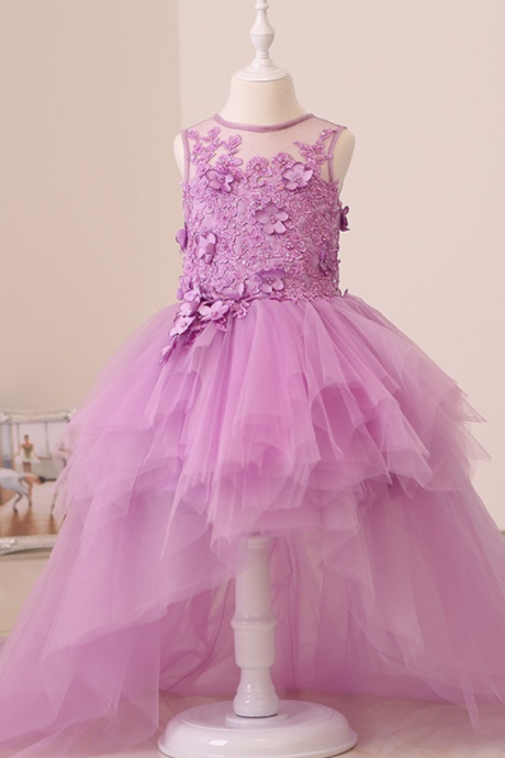 Cute Lavender High Low Flower Girl Dresses Tulle Puff Girl Pageant Dresses Kids Evening Gowns Custom Made Prom Dress for Girls