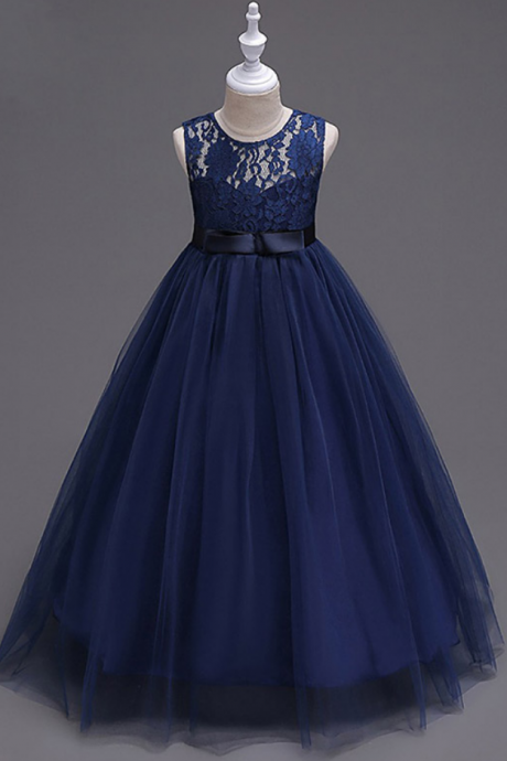 Navy Blue Lace Flower Girl Dresses Tulle Kids Ball Gown Dress
