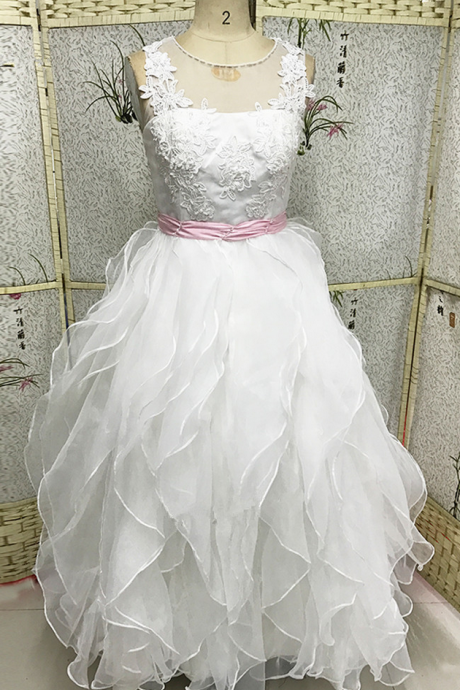 Lace Holy Communion Dresses Pageant Ball Gowns For Girls Wedding Gowns Kids White Pink Flower Girl Dresses Kids Designs