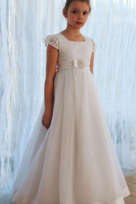 New Arrival Short Sleeve Lace Flower Girl Dresses Vestido de Comunion First Communion Dresses for Girls 10 12 Pageant