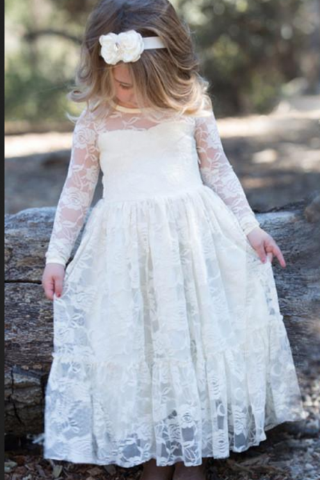 Fashion First Communion Dresses for Girls Long Communion Dresses,Girl Lace Dress