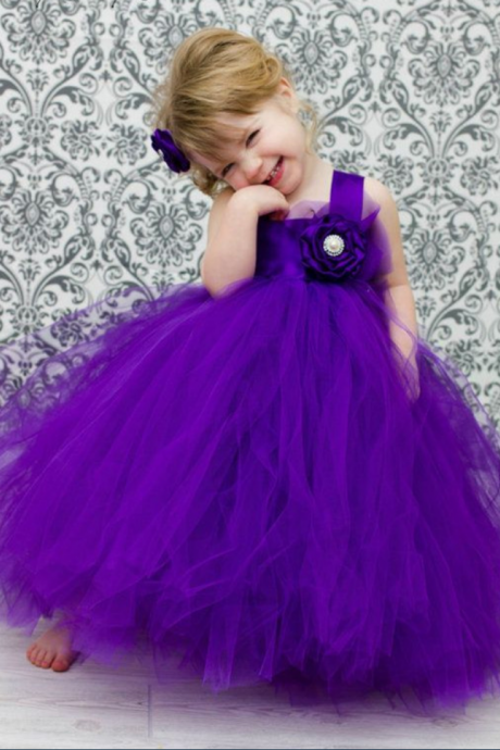 Purple Flower Girl Tutu Dress