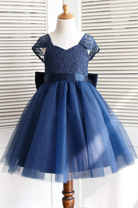 Cap Sleeves Navy Blue Flower Girl Dress with Bow