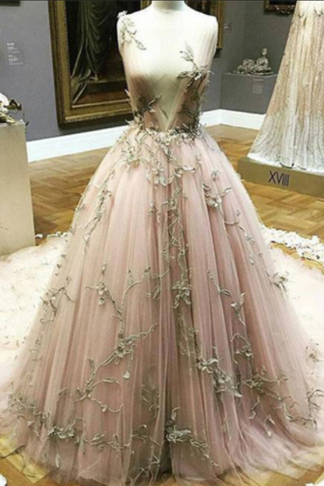 Blush pink tulle long gold lace appliques evening dress, long winter formal prom dresses,