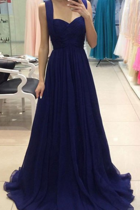 Prom Dresses, Long Navy Prom Dress,Beautiful Formal Gown,Evening Dress,