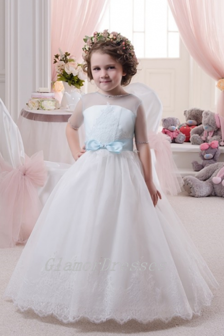 Lovely Flower Girl Dresses,White Flower Girl Dresses,Handmade Flower Girl Dresses, Off The Shoulder Girls Wedding Party Dresses, Custom Made Girl Dress for Girl