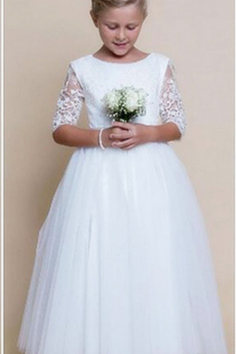Flower Girl Dresses,Girl Wedding Bridesmaid Birthday Party Formal Recital Gown,Half Sleeves Flower Girl Dresses,Lace Girl Dresses for Wedding