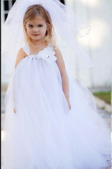 Floor Length Flower Girl Dresses Children Birthday Dress Tulle Ball Gown Kids Wedding Party Dresses