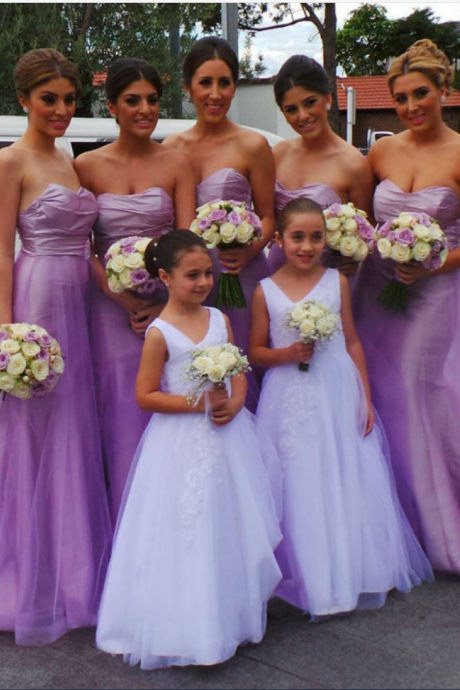 Sweetheart Bridesmaid Dress with Empire Waist, Beautiful Lavender Bridesmaid Dresses, Modern Long Tulle Bridesmaid Dresses,