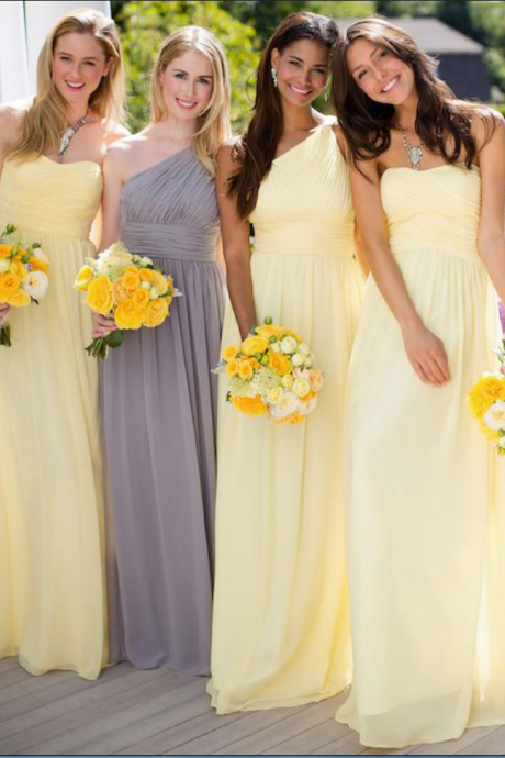 Yellow A-line Chiffon Bridesmaid Dresses, Daffodil Bridesmaid Dress with Ruching Detail, Sweetheart One Shoulder Gown for Bridesmaid,