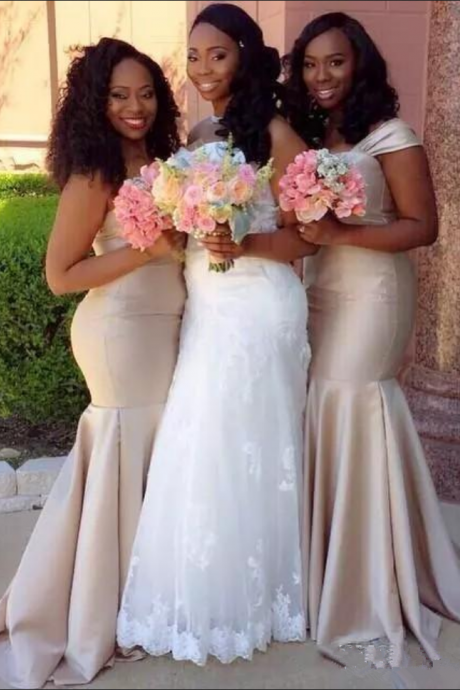 New Champagne African Bridesmaid Dresses Off Shoulder Mermaid Long Plus Size Maid Of Honor Wedding Guest Party Gowns Cheap Custom
